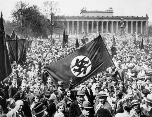 An anti-Nazi demonstration in Berlin, 1932.
